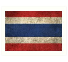Old and Worn Distressed Vintage Flag of Thailand Art Print