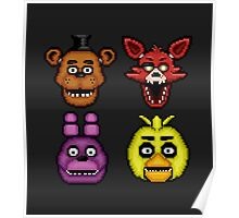 Five Nights at Freddy's 1 - Pixel art - The Classic 4 Poster