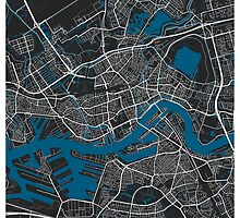 Rotterdam city map black colour by mmapprints