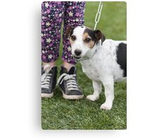 cute dog with baby Canvas Print