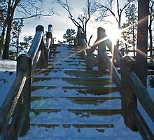 Sunset on the stairs by Susan Blevins