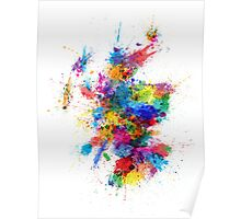 Scotland Paint Splashes Map Poster