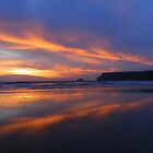 Cornwall: Fire in the Sky Over Polzeath by Rob Parsons