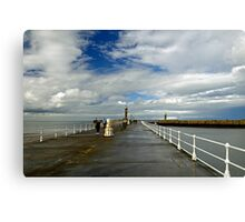 Along The West Pier, Whitby Canvas Print