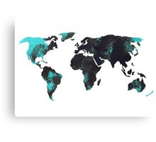 Blue world map watercolor painting Canvas Print