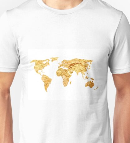 Gold world map watercolor painting Unisex T-Shirt
