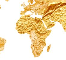 Gold world map watercolor painting Sticker