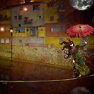 Paseo con sombrilla bajo la luna by dmcart