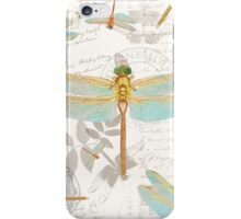 Vintage Botanicals collection dragonflies on the wing iPhone Case/Skin