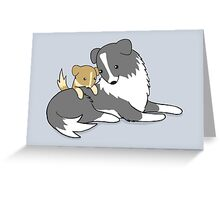 Sprawling Puppy and His Dad Greeting Card