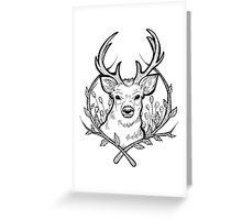 Deer (Black) Greeting Card