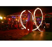 Beach and Bar- Fire twirling in Thailand Photographic Print
