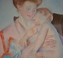Sleepy baby (After Cassatt) by Nancy Pratt