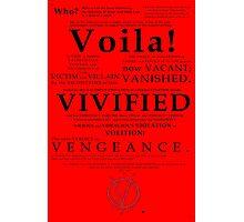 V For Vendetta Pentalogue Photographic Print