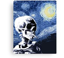 Skull with burning cigarette on a Starry Night Canvas Print