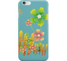 Green and peachy flowers garden iPhone Case/Skin
