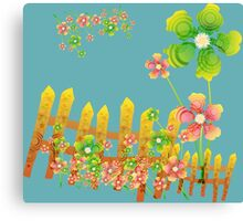 Green and peachy flowers garden Canvas Print
