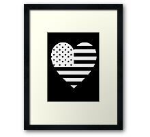 American Flag, REVERSE Heart on Black, Stars & Stripes, Pure & Simple, America, USA Framed Print