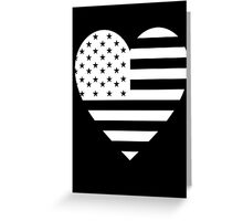 American Flag, REVERSE Heart on Black, Stars & Stripes, Pure & Simple, America, USA Greeting Card