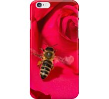 Bee approaching a red rose iPhone Case/Skin