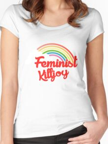 Feminist killjoy retro rainbow Women's Fitted Scoop T-Shirt