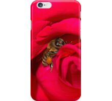 Bee bedded in a red rose iPhone Case/Skin