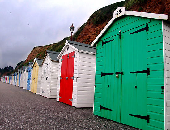 Beach Huts - Seaton by Samantha Higgs