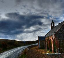 Just a road passing a church by westkie