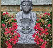 Little Buddha Sculpture Collage by DFLC Prints