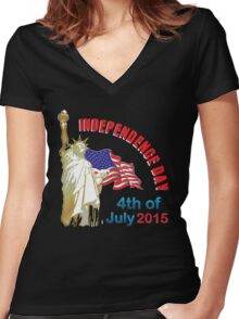 independence day, 4th of july Women's Fitted V-Neck T-Shirt
