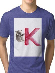 Koala watercolor alphabet poster Tri-blend T-Shirt