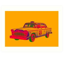 Checkered Taxi Cab Pop Art Art Print