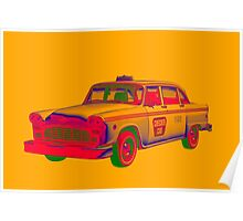 Checkered Taxi Cab Pop Art Poster