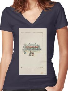 Mother Goose or the Old Nursery Rhymes by Kate Greenaway 1881 0006 Approaching the House Women's Fitted V-Neck T-Shirt