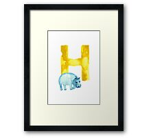 Hippo watercolor alphabet drawing Framed Print