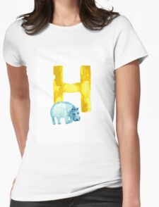 Hippo watercolor alphabet drawing Womens Fitted T-Shirt