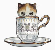 Kitten in a Tea Cup, original colors Calico Kitten floral vines Kids Clothes