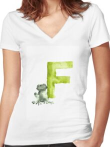 Frog watercolor alphabet painting Women's Fitted V-Neck T-Shirt