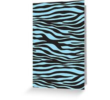 Animal Print, Zebra Stripes - Black Blue  Greeting Card