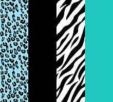 Animal Print, Zebra Stripes, Leopard Spots - Blue by sitnica