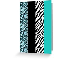 Animal Print, Zebra Stripes, Leopard Spots - Blue Greeting Card
