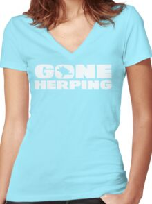 Gone Herping T Shirt Women's Fitted V-Neck T-Shirt