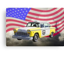 Yellow and White Checkered Taxi Cab And US Flag Canvas Print