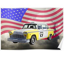 Yellow and White Checkered Taxi Cab And US Flag Poster