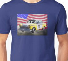 Checker Taxi Cab And US Flag Unisex T-Shirt