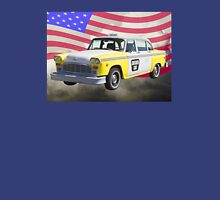 Yellow and White Checkered Taxi Cab And US Flag Unisex T-Shirt