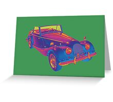 1964 Morgan Plus 4  Green and Blue Pop Art Greeting Card