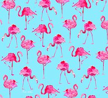 Floridian Flamingos - Blue  by freeinthelines