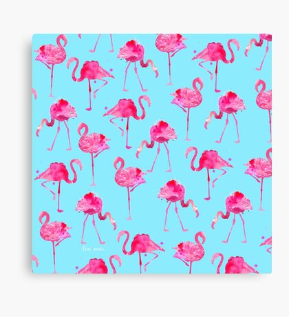 Floridian Flamingos - Blue  Canvas Print