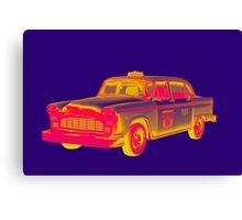 Checkered Taxi Cab Pop Art Canvas Print